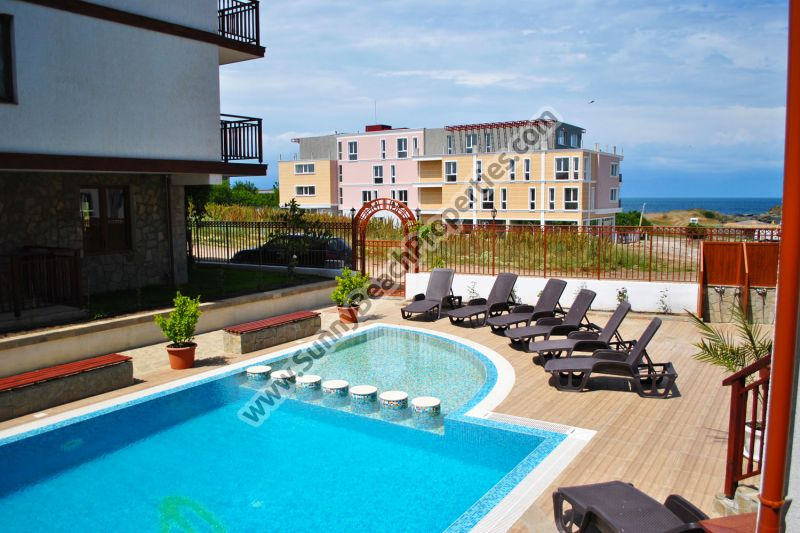 Beachfront sea view and pool view studio for sale in complex Mojito Club only 70 m. from the beach in Lozenets, Bulgaria