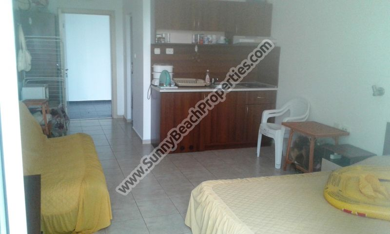 Park view furnished studio apartment for sale in Rose Residence in tranquil area in the central part of Sunny beach 500 m. from the beach.