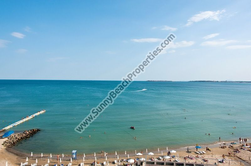 Beachfront sea and mountain view luxury furnished 1-bedroom apartments for sale in Dolphin Coast VIP Club only 20 m. from the beach in Sunny Beach.