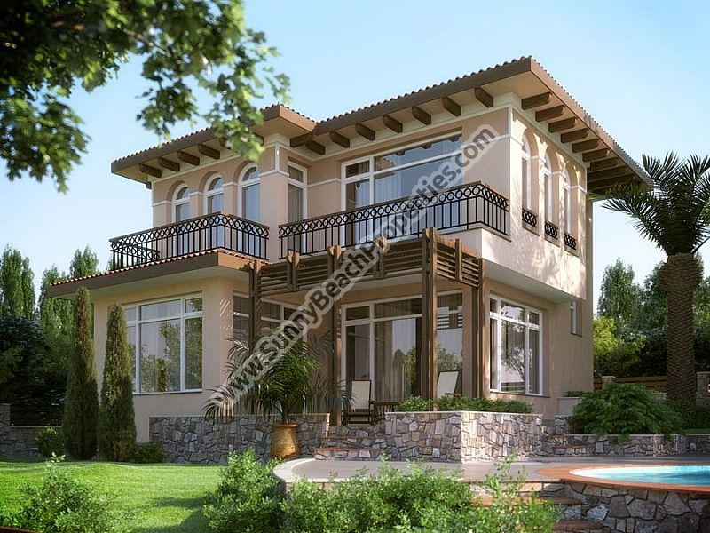 Luxury 2-bedroom/1.5-bathroom detached houses in villa complex  6km from the beach in Sunny beach