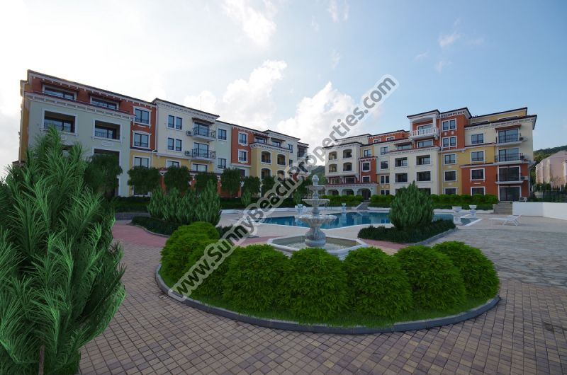 Sea, pool and forest view studio apartments for sale in Lily Beach Resort, 150m from beach, Sozopol, Bulgaria