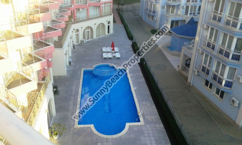 Pool view & mountain view furnished 1-bedroom/1.5-bathroom penthouse apartment for sale in Rose Garden in tranquil area in the central part of Sunny beach and 800 m. from the beach.
