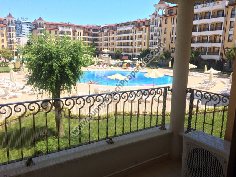 Pool view furnished 1-bedroom apartment for sale in magnificent 4**** Royal Sun apartcomplex just 300 m. from beach & 700 m.  downtown Sunny beach