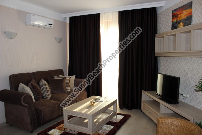 Park view luxury furnished 1-bedroom resale apartment for sale in Harmony Suites 3, Sunny beach Bulgaria
