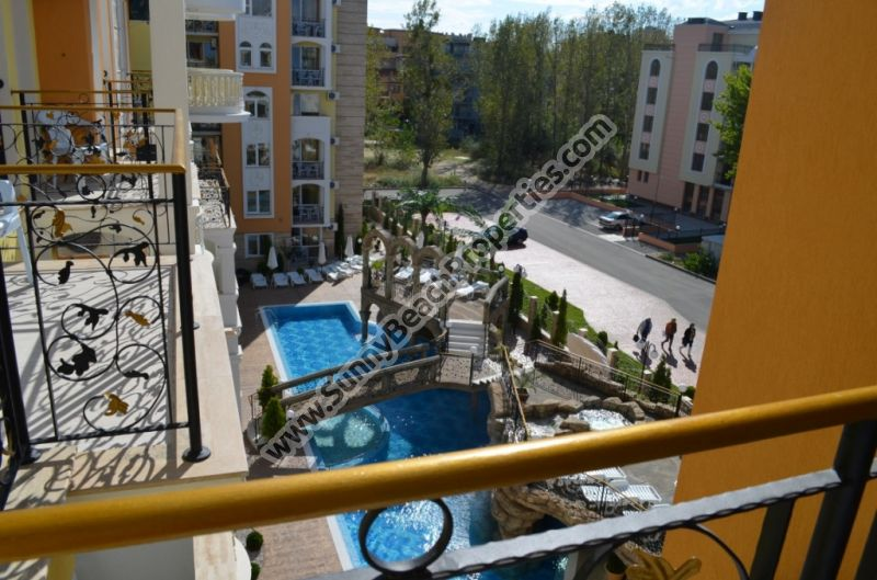 Pool view luxury furnished Studio apartment for sale in Sweet Hоmes 2 in absolutely tranquil area in the central part of Sunny beach, Bulgaria