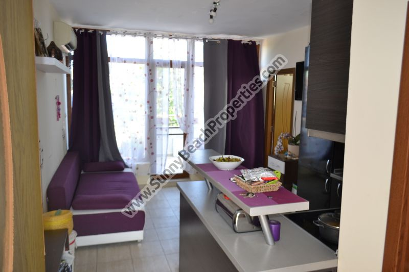 Furnished 1-bedroom penthouse apartment for sale in residential building Crystal Park tranquil area downtown Sunny beach 200 m. from the beach