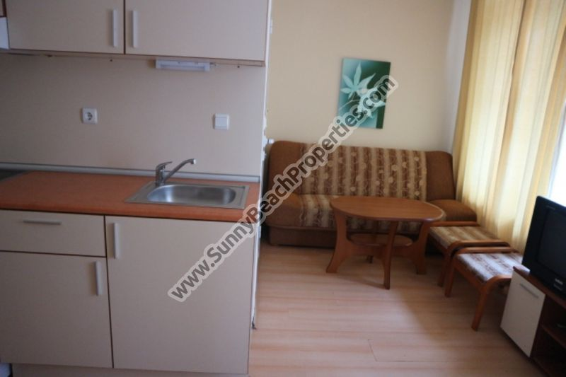 Furnished studio apartment for sale in 5 in 1 Rainbow resort, Rainbow 2,  250m. from the beach in Sunny beach, Bulgaria