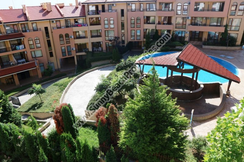 Pool view luxury 2-bedroom/2-bathroom apartment for sale in luxury complex Artur in tranquil area 100 meters from the beach in St. Vlas, Bulgaria