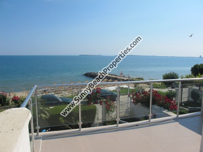 Superb beachfront sea view fully furnished 3-bedroom/3-bathroom villa for rent in absolute tranquility right on the beach in St. Vlas