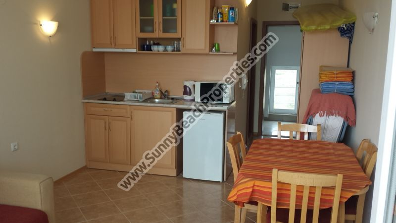 451€/m2! Pool view furnished studio apartment for sale in complex Sunset Beach 2  600 m.  from the beach in Sunny beach, Bulgaria