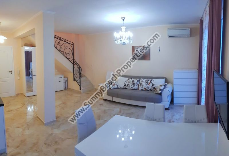 Pool  view luxury furnished 2-bedroom/2-bathroom townhouse with garden for sale in magnificent Venera Palace just 400 m. from beach & 700 m.  downtown Sunny beach