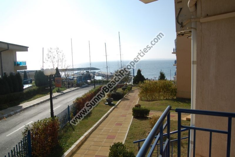 Beachfront sea view furnished 2-bedroom/1.5-bathroom apartment for sale in Vega Village on beach in Sveti Vlas, Bulgaria