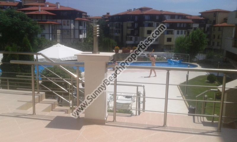 Pool view furnished 2-bedroom apartment with porch for sale in Galateya complex 200 meters from the beach in Saint Vlas /Sveti Vlas/, Bulgaria