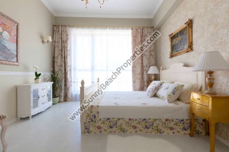 Mountain view luxury furnished studio apartment for sale in beachfront Chateau Sea Wind in tranquility on the beach in Sveti Vlas, Bulgaria