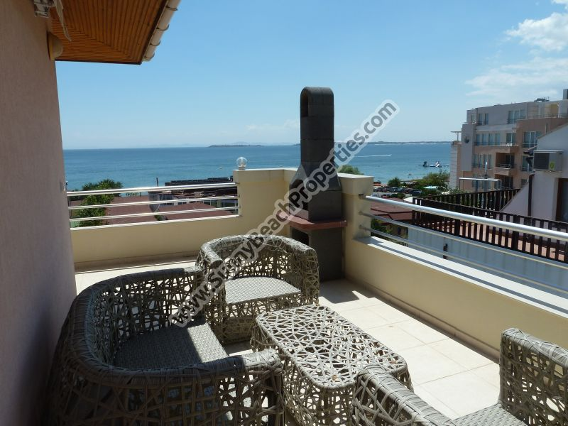 Sea and pool view fully furnished 1-bedroom penthouse lux in 2 in 1 Sea View complex 50m. from the beach.