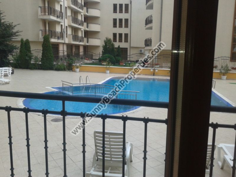 Pool view spacious furnished 1-bedroom apartment for sale in Amadeus 1 200m. from beach in Sunny beach