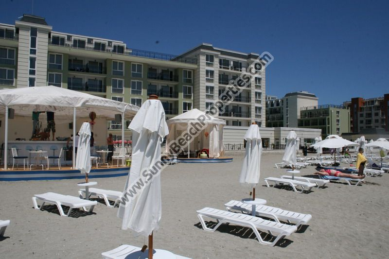 Sea and pool view furnished studio for sale in beachfront 4**** aparthotel Festa Pomorie Resort on the beach in Pomorie