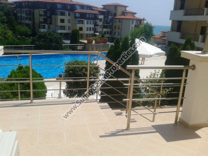 Sea & pool view furnished 2-bedroom apartment with porch for sale in Galateya complex 200 meters from the beach in Saint Vlas /Sveti Vlas/, Bulgaria