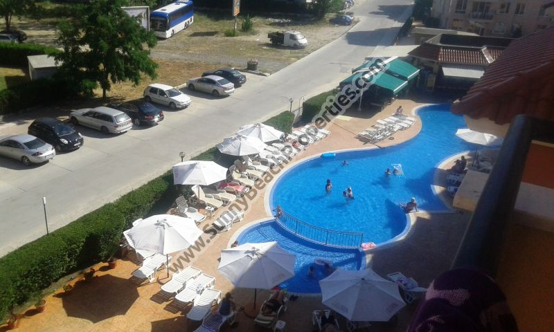 Pool view furnished 1-bedroom apartment for sale in Kasandra in absolute tranquility 500 m. from the beach in Sunny beach, Bulgaria