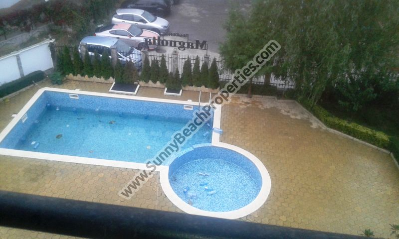 Pool view studio apartment for sale in Magnolia Residence, 500m. from the beach in Sunny beach resort, Bulgaria