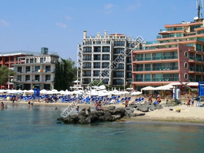 Mountain view luxury furnished studio for sale in complex Dolphin Coast VIP club  only 20 m. from the beach in Sunny beach