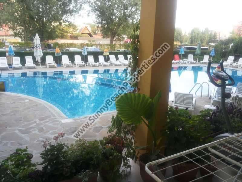 Pool view furnished studio apartment for sale 300 m. from the beach and 50 m. from supermarket Mladost in Sunny beach