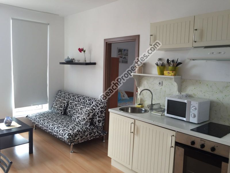 Pool view  furnished 1-bedroom apartment for sale in Sunny day 6 in the suburbs of Sunny beach, Bulgaria