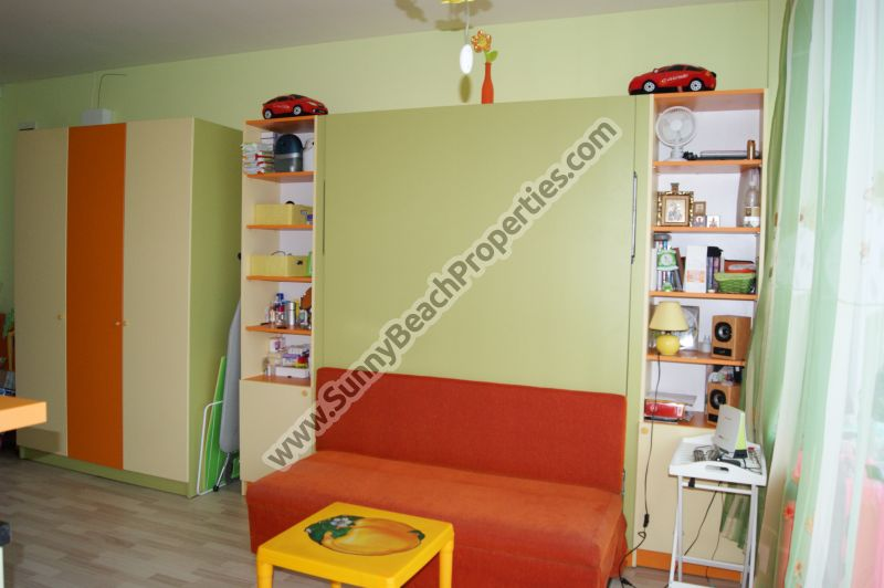 Furnished studio apartment for sale 300m from beach in Sunny beach, next to supermarket Perla