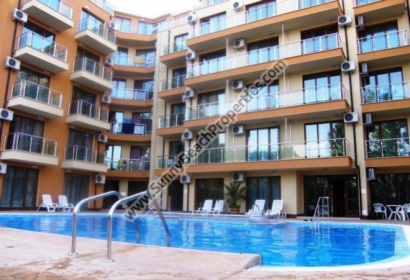 Pool view furnished studio apartment for sale in Amadeus XI in tranquil area 400 meters from the beach in Sunny beach, Bulgaria