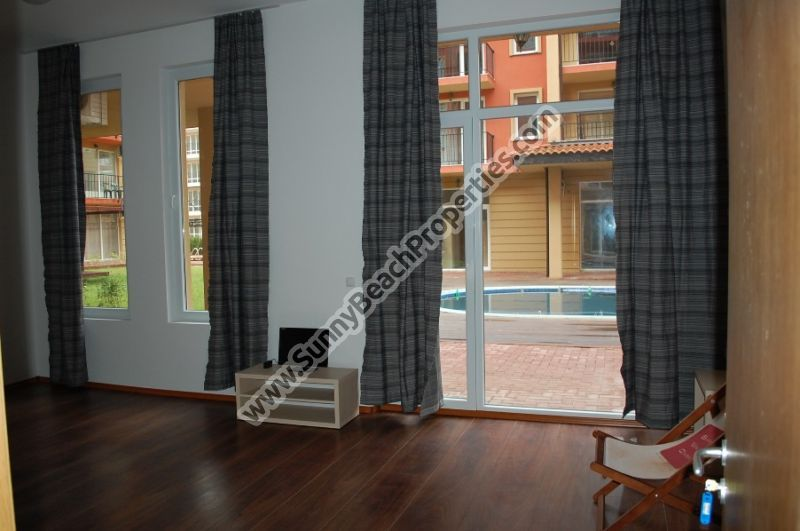 Pool view furnished studio apartment for sale in Sunny View Central 400m. from the beach in Sunny beach