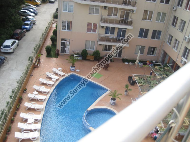 Pool view furnished 2-bedroom apartment for sale in Balkan Breeze 700m. from the beach in Sunny beach