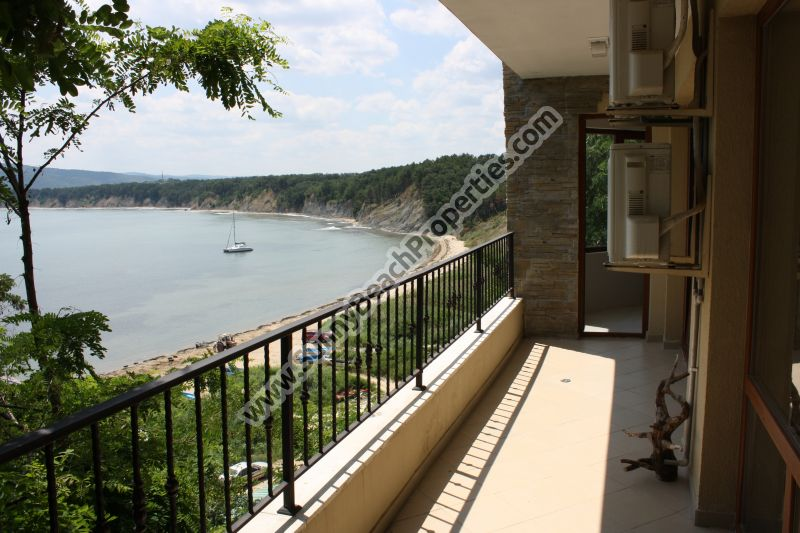 Gorgeous beachfront sea view luxury furnished 2-bedroom apartment for sale in residential building on the beach in Byala