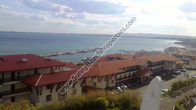 Stunning sea & pool view furnished 1-bedroom apartment for sale in Merry Mar 50m. from beach in Saint  Vlas, Bulgaria