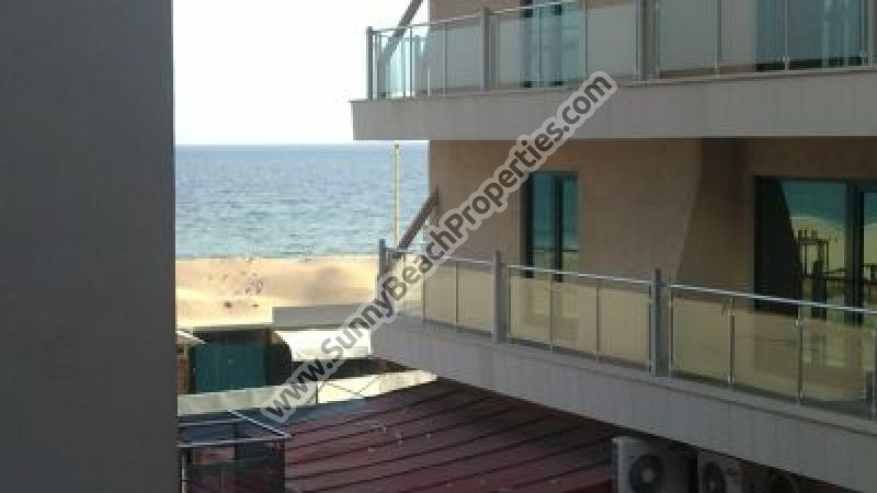 Beachfront Partial sea view furnished studio with bedroom part in residential building right on the Beach in Sunny beach.