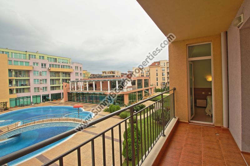 Pool view furnished 1-bedroom apartment for sale in complex Pollo resort 400 m. from the beach in Sunny beach