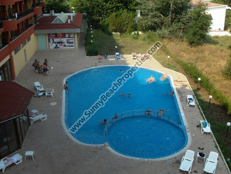 487€/m2! Pool view furnished 1bedroom/2bathroom apartment  for sale in Ashton Hall downtown Sunny beach, 150m. from the beach
