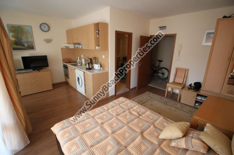 Fully furnished studio apartment for sale in Royal Dreams only 150 meters from the beach in Sunny beach