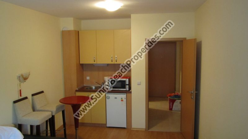 Cheap resale furnished studio apartment for sale in Bell Tower in tranquility in the central part in Bansko ski resort, Bulgaria