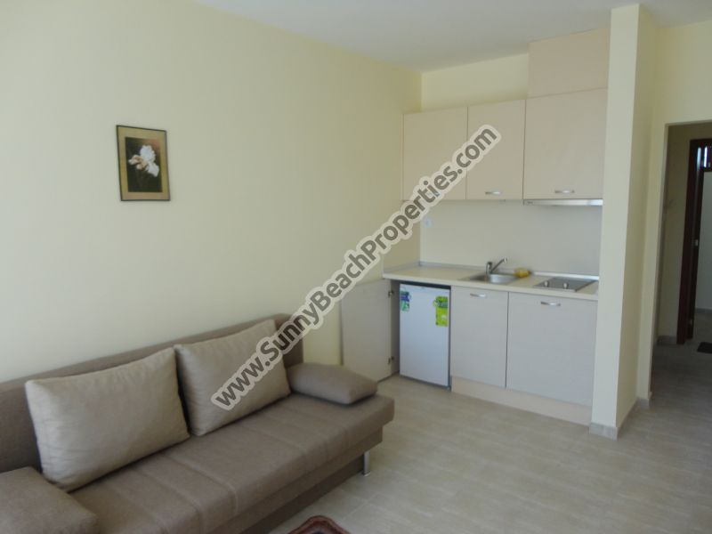 Furnished studio apartment for sale in residential building Crystal Park tranquil area downtown Sunny beach 200 m. from the beach