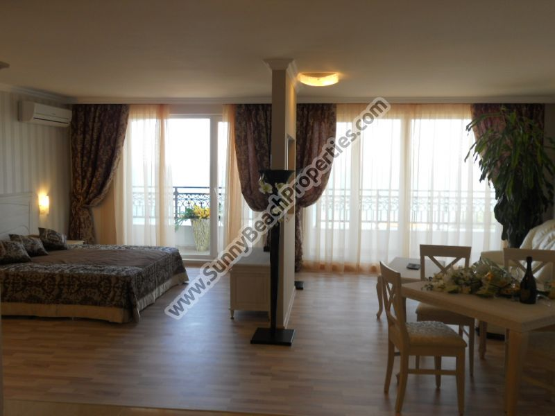 Stunning beachfront furnished big studio apartments for sale in 4**** year-round apartcomplex Penelope Palace on the beach in Pomorie