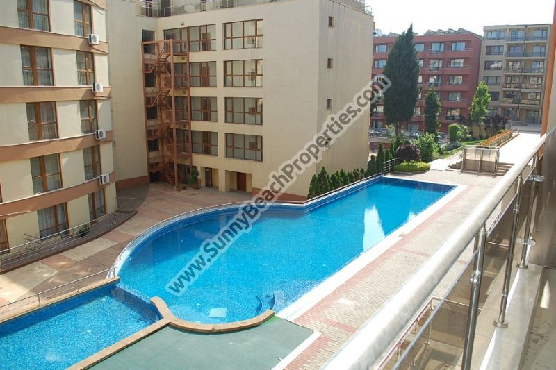 Pool view fully furnished studio apartment for sale in Panorama Beach in Nessebar, Bulgaria