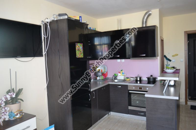 Furnished 1-bedroom apartment for sale in residential building Crystal Park tranquil area downtown Sunny beach 200 m. from the beach