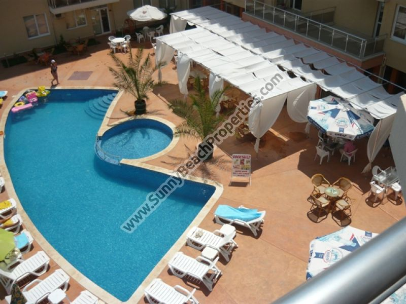 Pool view furnished one-bedroom apartment in Balkan Breeze 700m. from the beach in Sunny beach