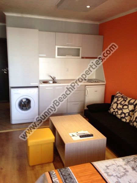 Luxury furnished studio apartment for sale in Amara, 350m. from the beach in Sunny beach, Bulgaria