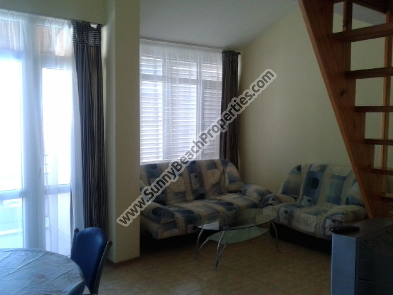 Pool view furnished 3-bedroom/2bathroom flat for rent 150m. from the beach in Sunny beach,  Bulgaria