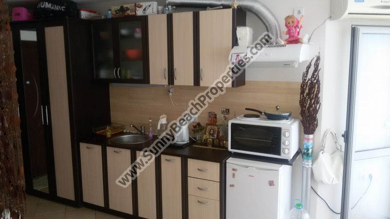 Furnished studio apartment for sale in complex Perla, 300m from beach in Sunny beach, Bulgaria