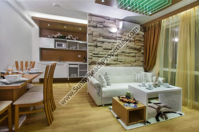 Pool view luxury furnished 1-bedroom apartment in tranquil area in the center  of Sunny beach, 800m. from the beach.