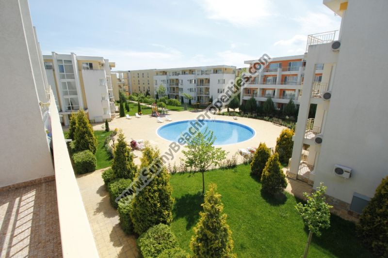 Pool view furnished studio apartment with separate kitchenette for sale in Nessebar Fort Club 800m. from beach, 500m. from downtown Sunny beach