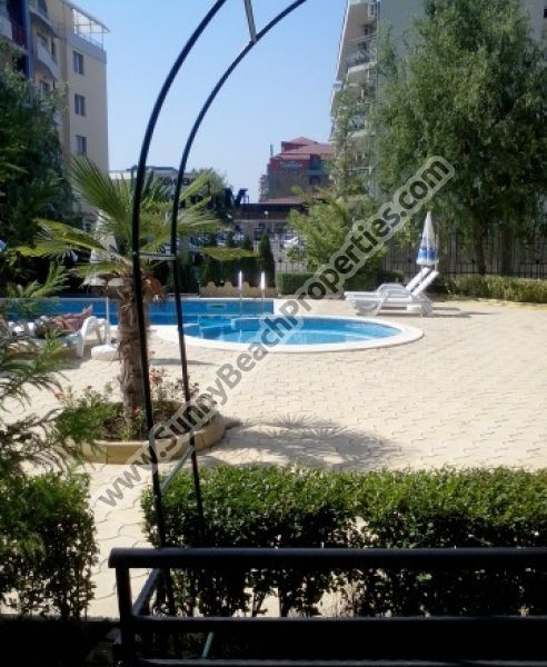 Pool view furnished studio apartment for sale in Magnolia Residence, 500m. from the beach in Sunny beach resort, Bulgaria