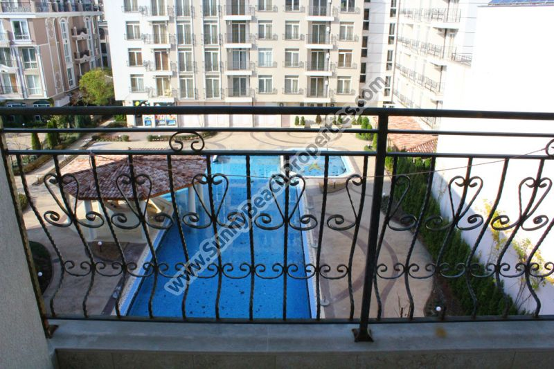 Pool view spacious furnished studio apartment for sale in Dawn Park, 600 m from beach, Sunny beach Bulgaria